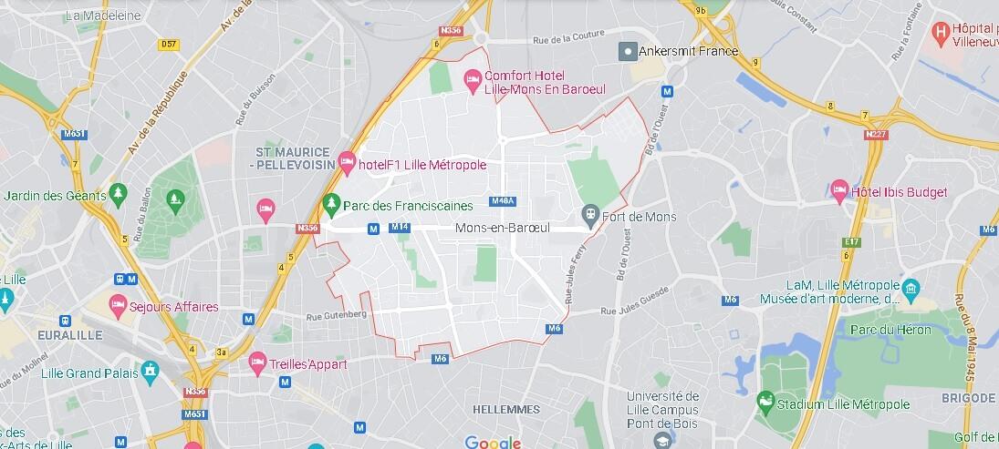 Carte Plan Mons-en-Barœul
