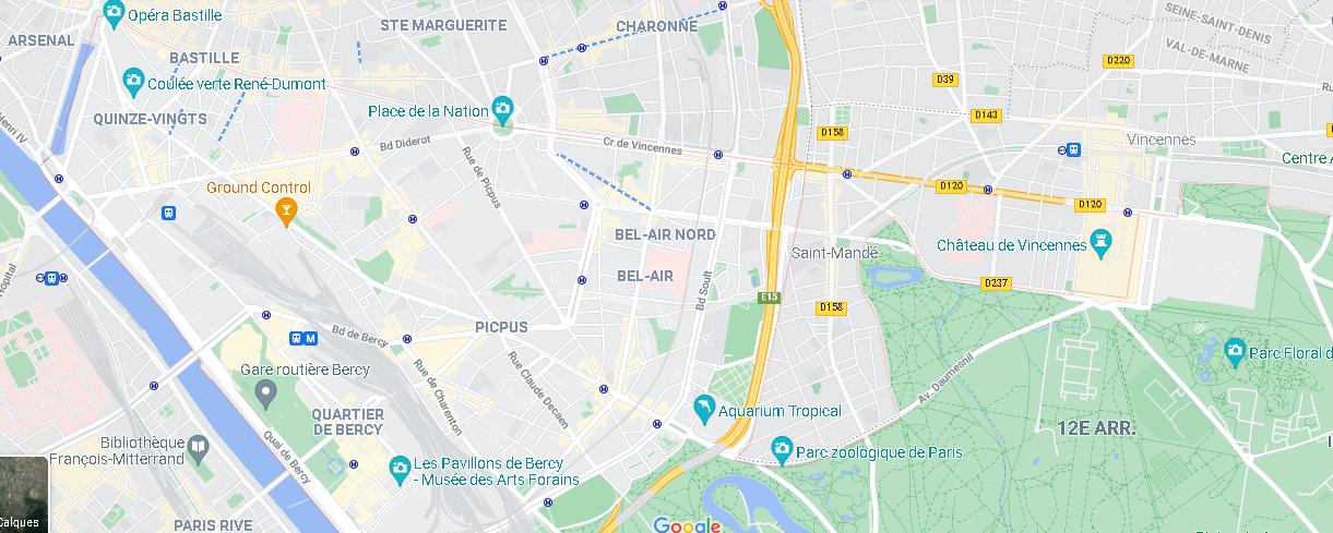 Carte Plan Paris 12e Arrondissement