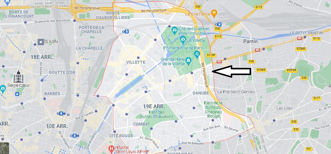 Carte Plan Paris 19e Arrondissement