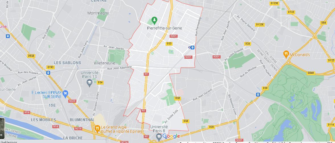 Carte Plan Pierrefitte-sur-Seine