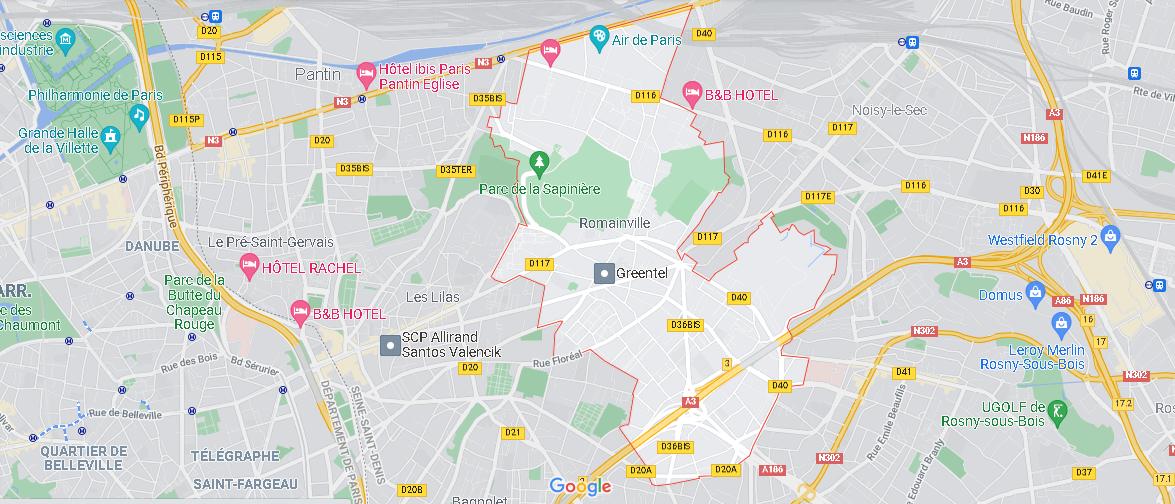 Carte Plan Romainville