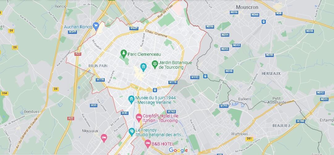 Carte Plan Tourcoing