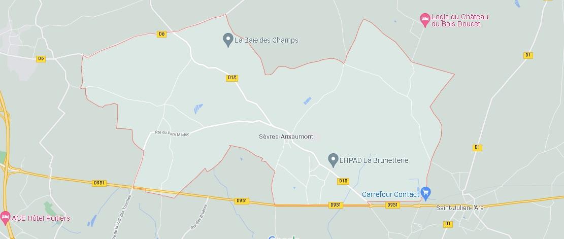 Carte Sèvres-Anxaumont