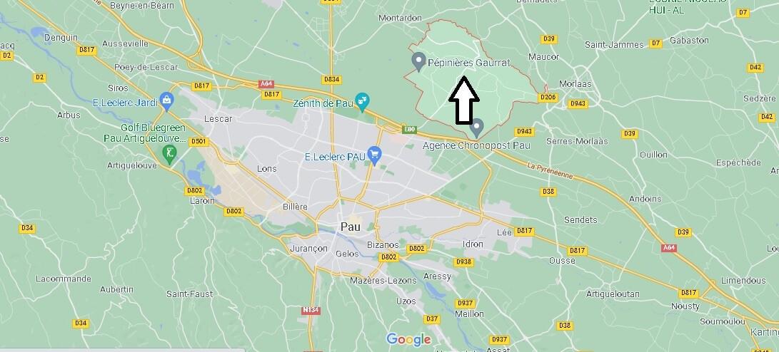 Où se situe Buros (Code postal 64160)