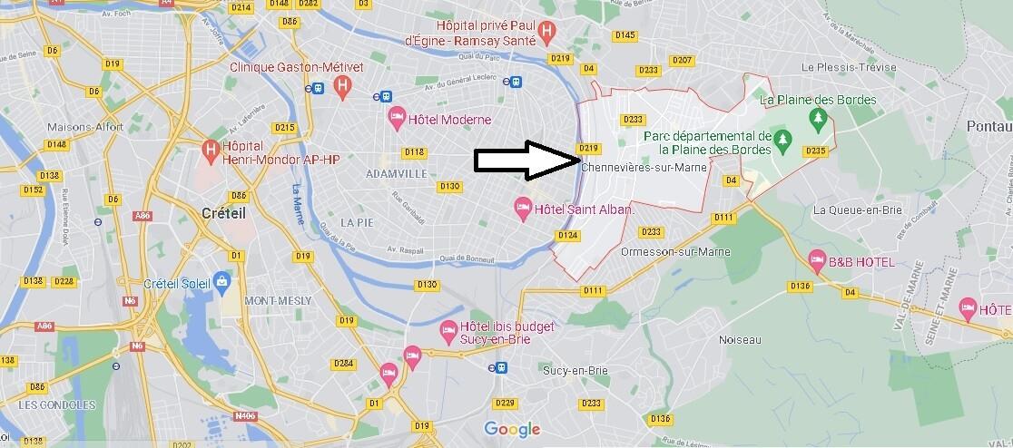 Où se situe Chennevières-sur-Marne (Code postal 94430)