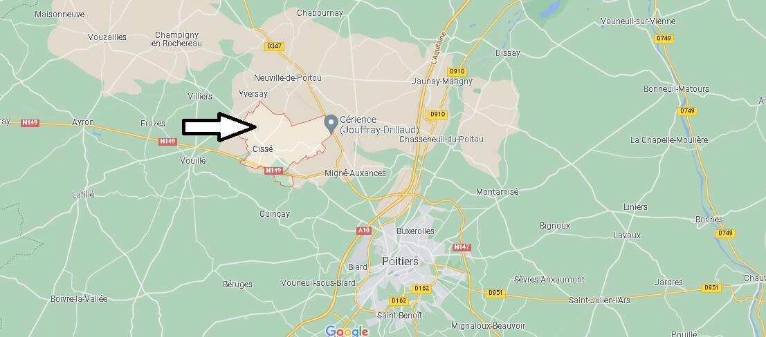 Où se situe Cissé (Code postal 86170)