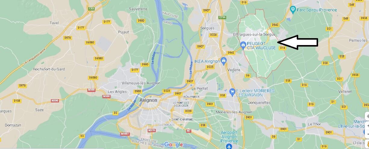 Où se situe Entraigues-sur-la-Sorgue (Code postal 84320)