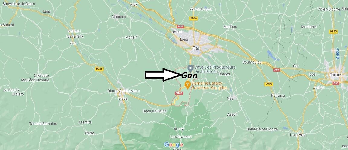 Où se situe Gan (Code postal 64290)