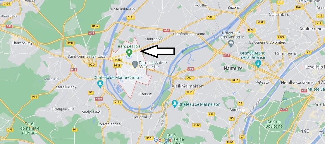 Où se situe Le Vésinet (Code postal 78110)