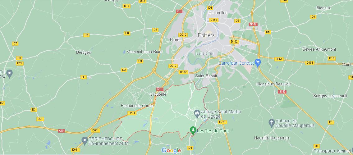 Où se situe Ligugé (Code postal 86240)