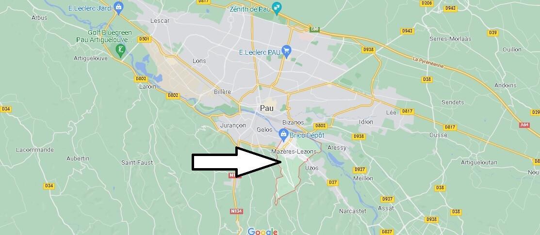 Où se situe Mazères-Lezons (Code postal 64110)