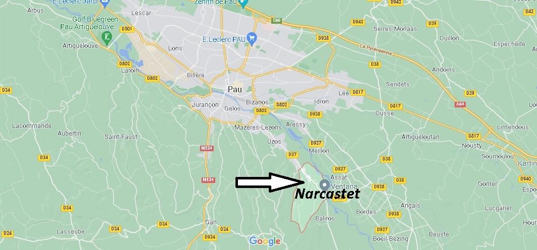 Où se situe Narcastet (Code postal 64510)