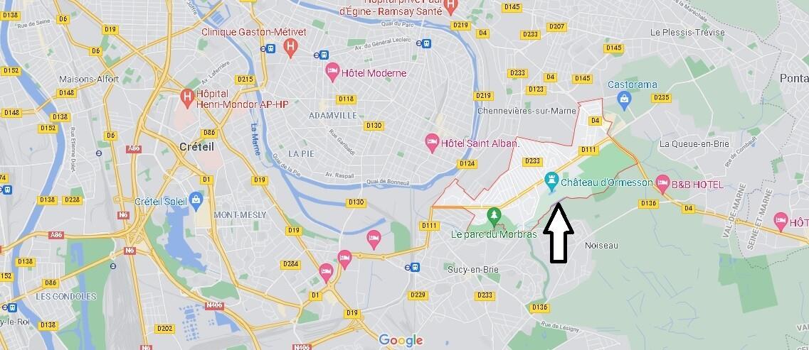 Où se situe Ormesson-sur-Marne (Code postal 94490)