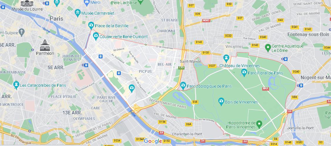 Où se situe Paris 12e Arrondissement (Code postal 75012)