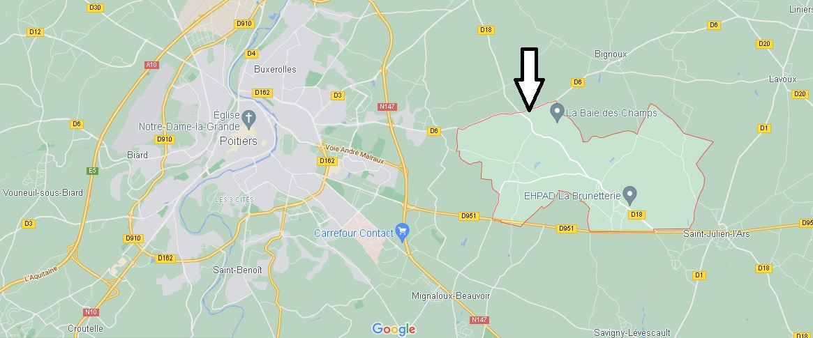 Où se situe Sèvres-Anxaumont (Code postal 86800)