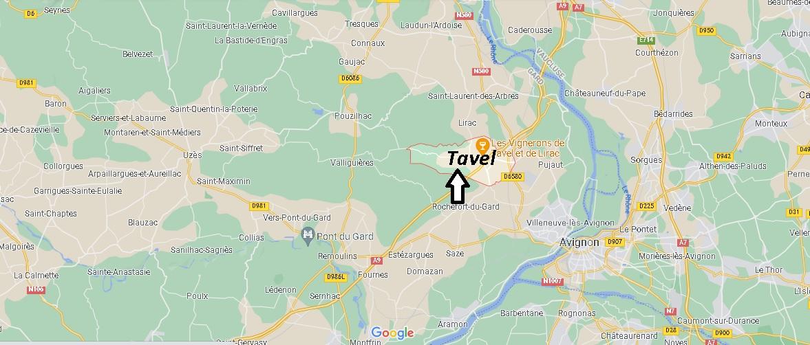 Où se situe Tavel (Code postal 30126)
