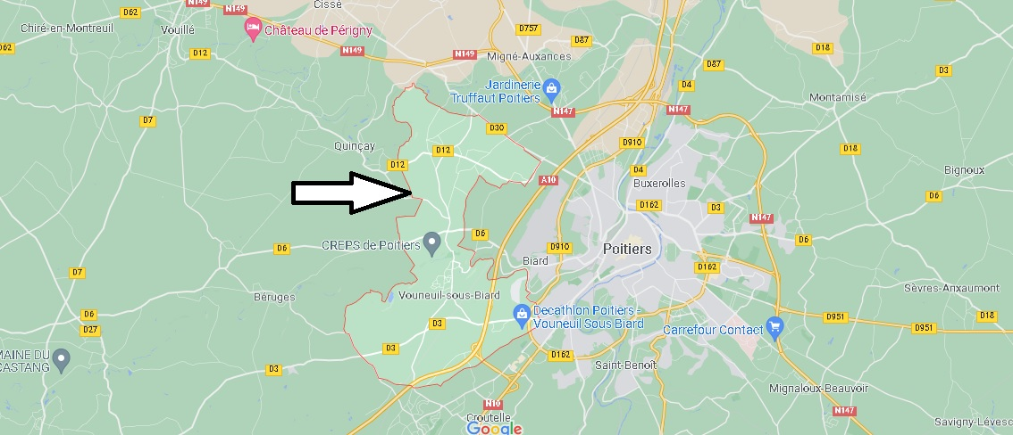 Où se situe Vouneuil-sous-Biard (Code postal 86580)